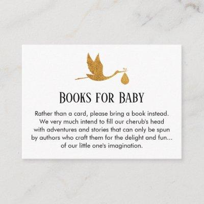 Stork in Faux Gold Foil, Book Request Insert Cards