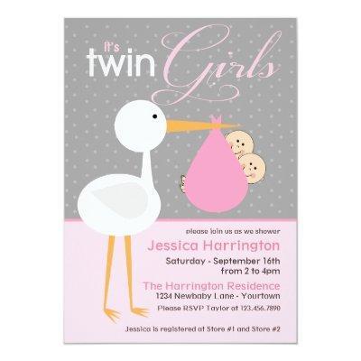 Stork Pink Twin Bundle Invitations