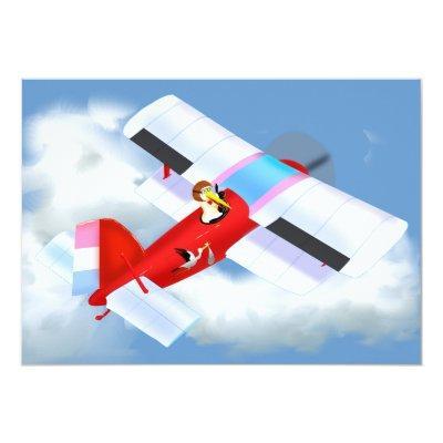 Stork Plane Invitations