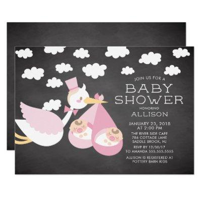 Stork & Twin Girls Twins Baby Shower Invitations