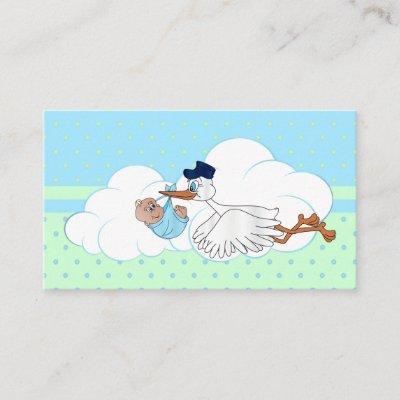 Stork with a Cute Little Baby Boy Book Raffle Enclosure Card
