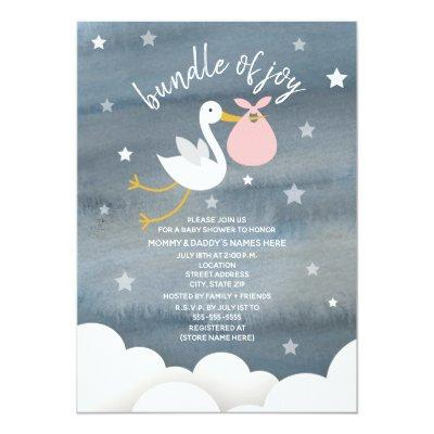 Stork With Pink Bundle Stars Baby Shower Invitations