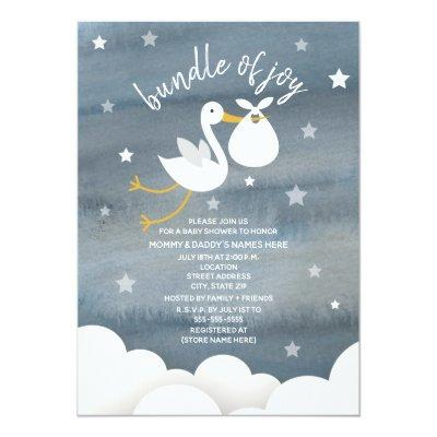 Stork With White Bundle Stars Baby Shower Invitations
