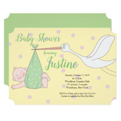 Stork Yellow Green neutral baby shower Invitation