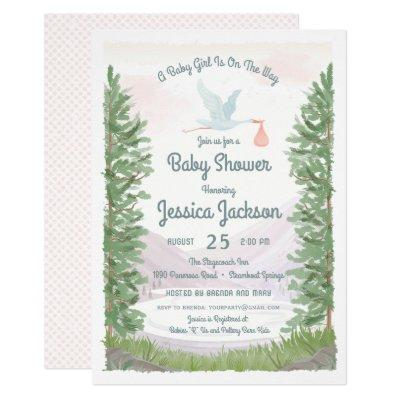 Stork's Journey Baby Girl Shower Invitations
