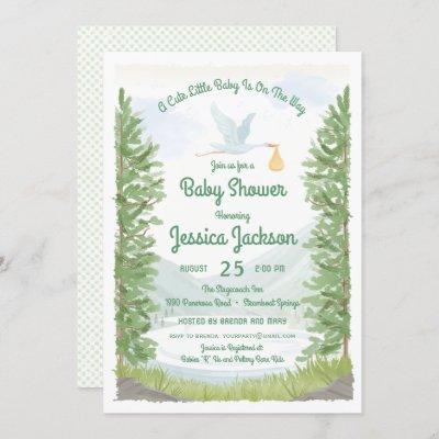 Stork's Journey Baby Shower Invitation