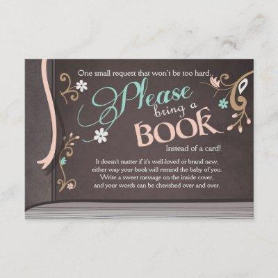 Storybook Bring a book Baby shower Vintage Brown Enclosure Card