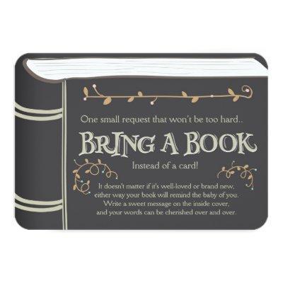 Storybook Bring a book Baby shower Vintage Brown Invitations