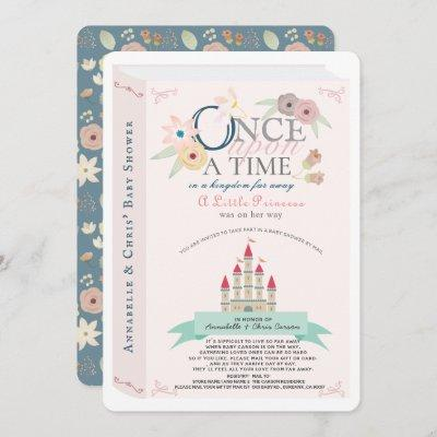 Storybook Princess Castle Pink Baby Shower by Mail Invitation