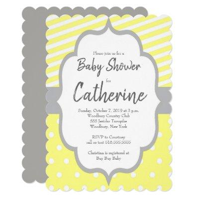 Stripes and Polka Dot Baby Shower Invitations