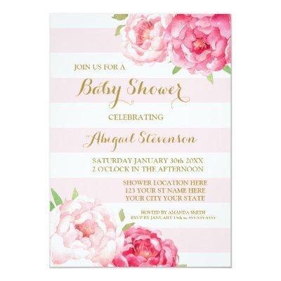 Stripes Pink Blush Watercolor Flowers Baby Shower Invitations