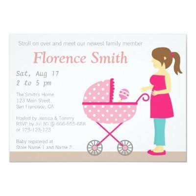 Stroller and Mum, Girl Baby Shower Invitation