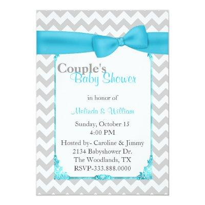 Stylish Chevron Couple's Baby Shower Invitation