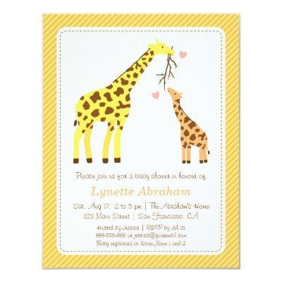Stylish Colourful Giraffe Invitations