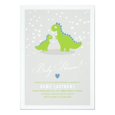 Stylish Green Grey Dinosaur Baby Shower Invitation
