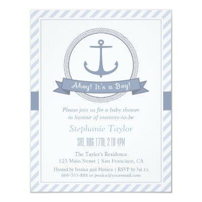 Stylish Nautical Themed Baby Shower Invitations