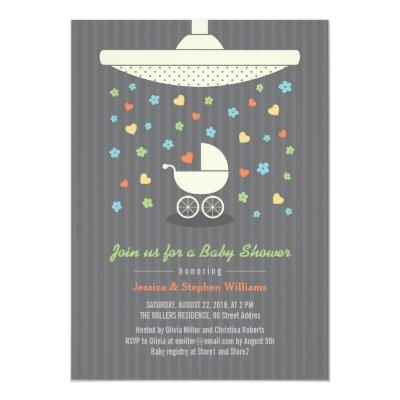 Stylish Neutral Baby Shower Colorful Invitations