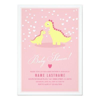 Stylish Pink Yellow Dino Girl Baby Shower Invite