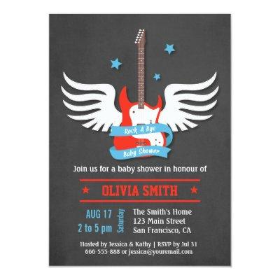 Stylish Rock and Roll Rock a Bye Baby Shower Invitation
