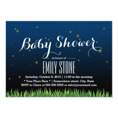 Stylish Summer Night Fireflies Baby Shower Invitation