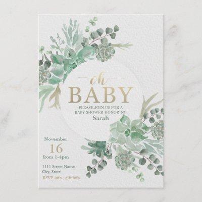 Succulent Baby Shower Invitation - Floral Invite