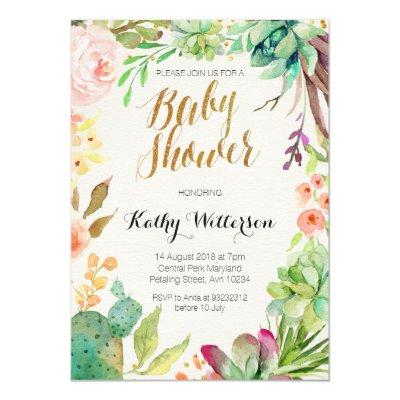 Succulent cactus baby shower Invitations