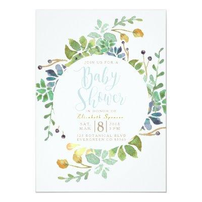 Succulent Garden Circle | Watercolor Baby Shower Invitation