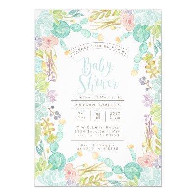 Succulent Garden Watercolor | Baby Shower Invite