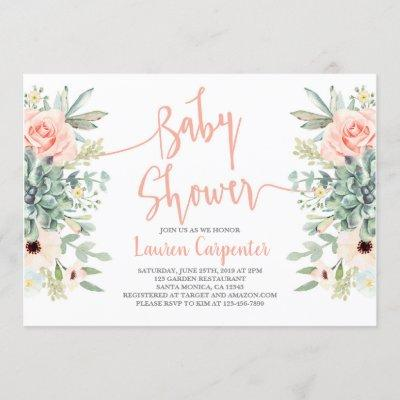 Succulents baby shower girl invitation