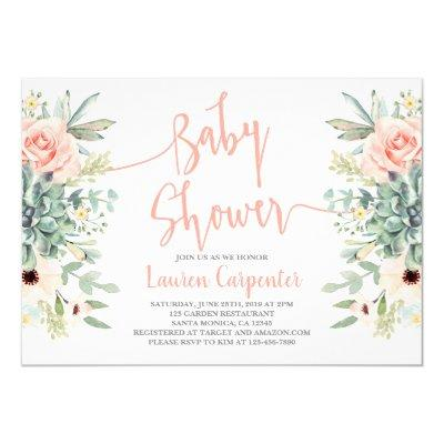 Succulents baby shower girl Invitations