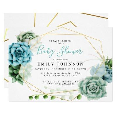 Succulents Baby Shower Invitations