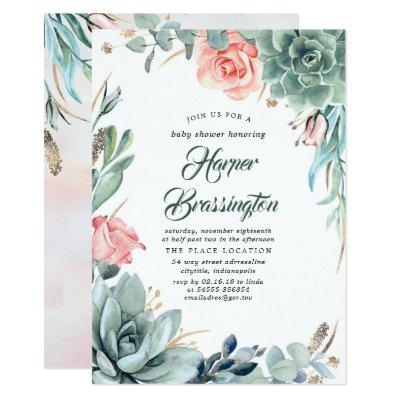 Succulents Greenery and Pink Rose Baby Shower Invitation