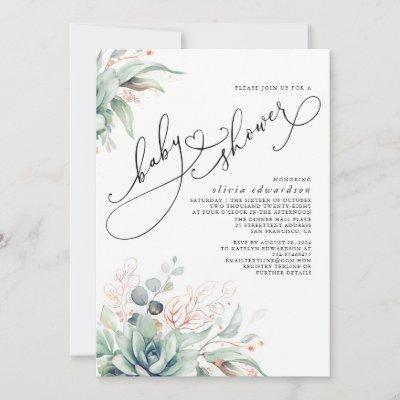 Succulents Greenery Cute Elegant Baby Shower Invit Invitation