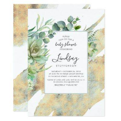 Succulents Greenery Gold Watercolors Baby Shower Invitation