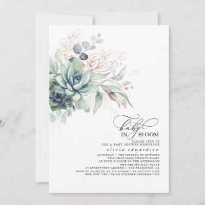 Succulents Greenery Pink Gold Leaves Baby Shower Invitation