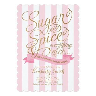 Sugar and Spice Baby Girl Baby Shower Invitations