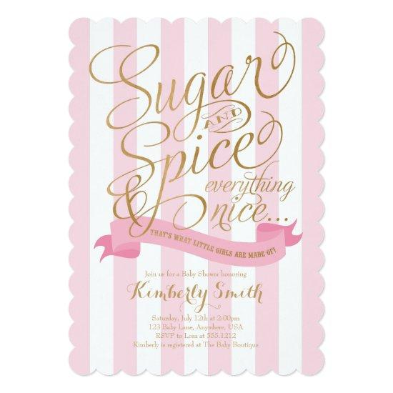 Sugar and Spice Baby Girl Invitations