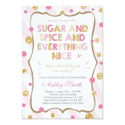 Sugar Spice And Everything Nice Baby Shower Invitations Baby