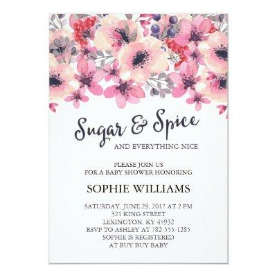 sugar and spice baby girl invitations | baby shower invitations, Baby shower invitations