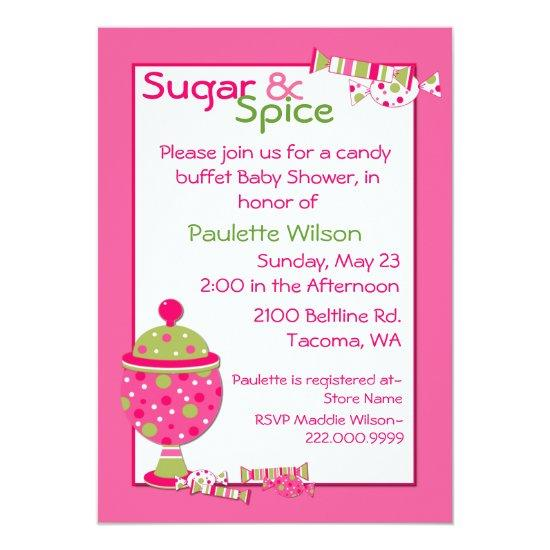 Sugar Spice Baby Shower Candy Buffet Invitations Baby Shower