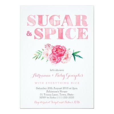 Sugar & Spice baby shower, pink watercolor flowers Invitations