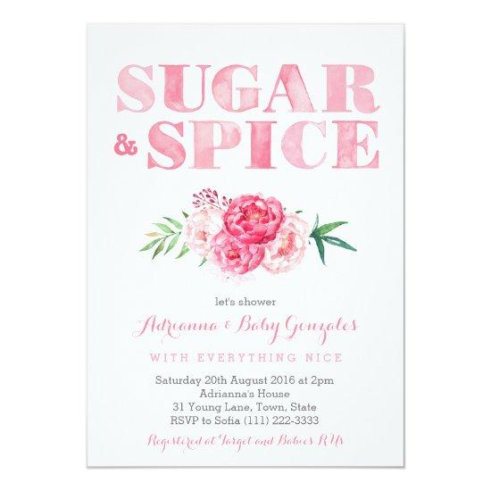 Sugar Spice baby shower pink watercolor flowers Invitations