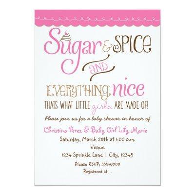 Sugar & Spice Typography Baby Shower Invitation