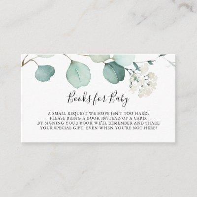 Summer Green Eucalyptus Baby Shower Book Request Enclosure Card
