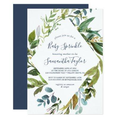 Summer Greenery Diamond Wreath Baby Sprinkle Invitations