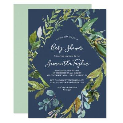 Summer Greenery | Navy Diamond Wreath Baby Shower Invitations