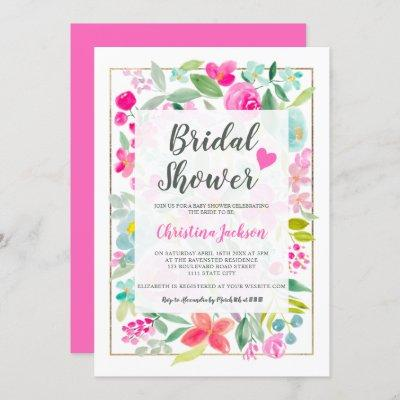 Summer pink floral watercolor gold bridal shower invitation