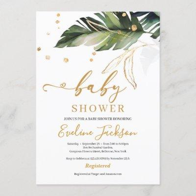 Summer tropical leaves and gold girl baby shower invitation