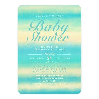 Summer Turquoise Beach Neutral Baby Shower Invite