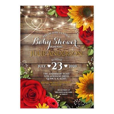 Sunflower and Rose Rustic Baby Shower Invitation